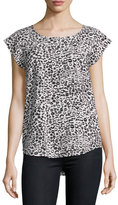 Joie Rancher N Lip-Print Silk Top, Porcelain