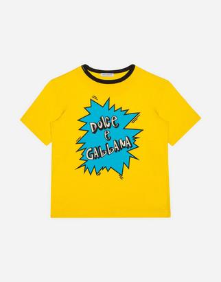 Dolce & Gabbana Jersey T-Shirt With Lightning Bolt Print