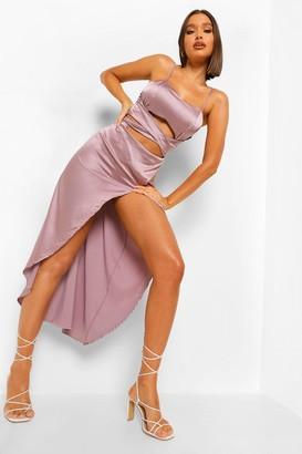 boohoo Satin Twist Front Wrap Midi Dress