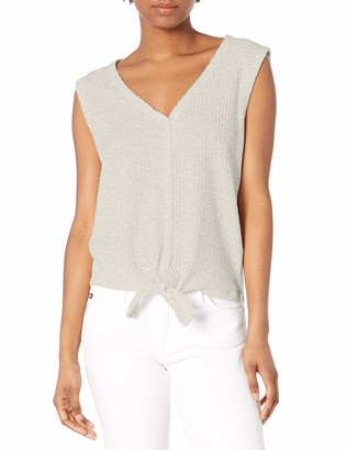 Jack by BB Dakota Women's Knit's Been Real Brushed Waffle Tie Front Top