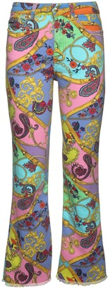 Versace Printed Stretch Cotton Denim Jeans