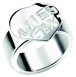 Miss Sixty Stainless Steel Ring Logo Imprinted with Crystals Size J