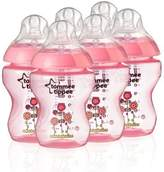 Tommee Tippee Closer to Nature 260 ml/9fl oz Decorated Feeding Bottles (Pink/6-pack) by