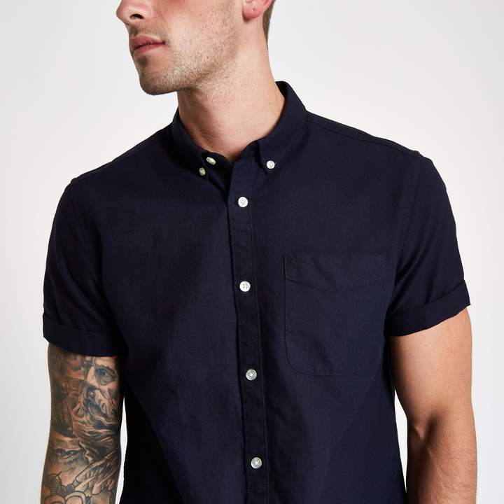 River Island Navy rolled short sleeve Oxford shirt