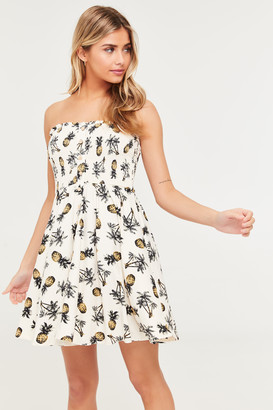 Ardene Smocked Pineapple Mini Skater Dress