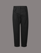 Autograph Pure Cotton Cuffed Hem Tapered Leg Trousers
