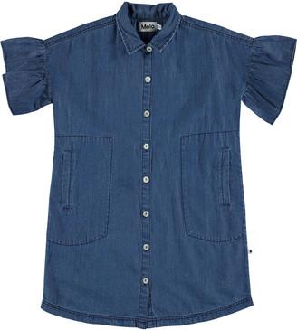 Molo Girl's Carey Frill Sleeve Chambray Shirt Dress, Size 5-16