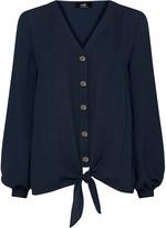 Wallis Navy Tie Front Shirt