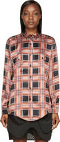 Rodarte Rust & Black Plaid Silk Blouse