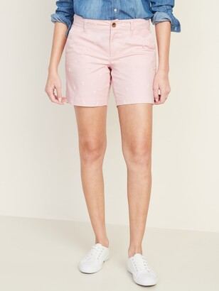 Old Navy Mid-Rise Everyday Embroidered-Daisy Shorts for Women - 7-inch inseam