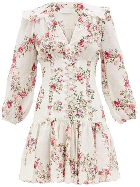 Zimmermann Honour Floral Print Corset Linen Mini Dress - Womens - Cream