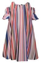Iris & Ivy Girl's Striped Cold-Shoulder Float Dress