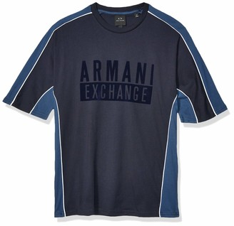 Armani Exchange A|X Men's Short Sleeve Jumper with Colorblock Side Stripe