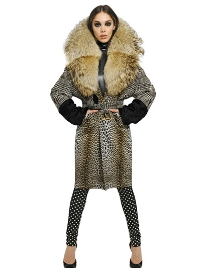 Ungaro Checked And Leopard Printed Coat