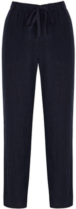Eileen Fisher Navy Checked Linen Trousers