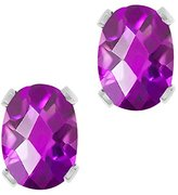 Gem Stone King 2.00 Ct Checkerboard Amethyst Silver Plated 4-prong Stud Earrings 8x6mm