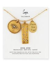Sequin Three-Pendant Talisman Necklace