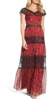 Tadashi Shoji Women's Rose Print Lace & Chiffon Gown