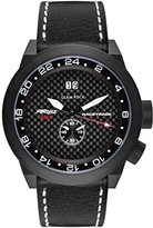 Glam Rock Men's Racetrack 48mm Black Leather Band IP Steel Case Swiss Quartz Analog Watch GRT29013F