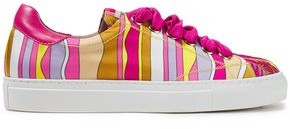 Emilio Pucci Leather-trimmed Printed Satin-twill Sneakers