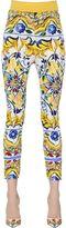 Dolce & Gabbana Maiolica Printed Silk Charmeuse Pants
