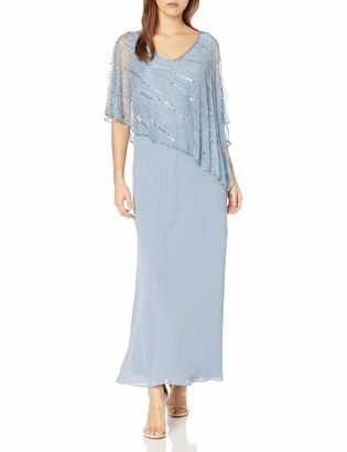 J Kara Women's Petite Pop Over Long Beaded Dress