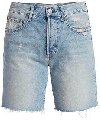 TRAVE Emery High-Rise Raw Hem Denim Shorts