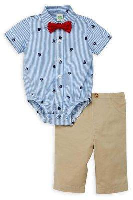 Little Me Baby Boy's 3-Piece Cotton Bodysuit, Pants & Bow Tie Set