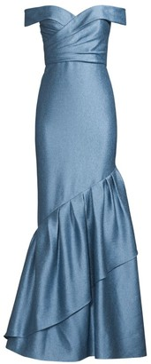 Aidan Mattox Off-The-Shoulder Ruffle Satin Gown