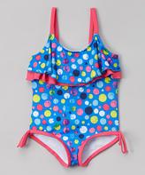Pink Platinum Royal Blue Polka Dots One Piece - Infant