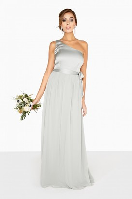 Little Mistress Bridesmaid Pearl One Shoulder Satin Top Maxi Dress