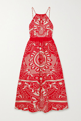 RED Valentino Embroidered Cotton Halterneck Midi Dress
