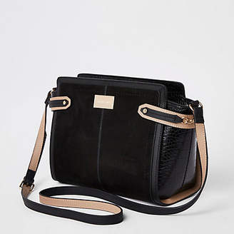 River Island Womens Black tab side cross body bag