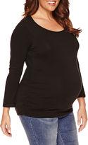 Asstd National Brand Long Sleeve Scoop Neck T-Shirt-Maternity