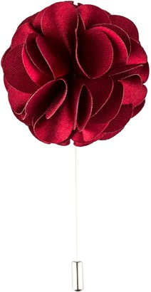 Product Proper Wine Red Polyester Silk Flower Handmade Lapel Pin Boutonniere For Wedding Suit
