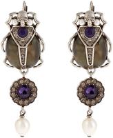 Alexander McQueen Pearl and crystal-embellished beetle earrings