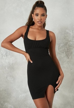 Missguided Black Strappy Ruched Bust Bodycon Mini Dress