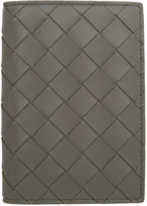 Bottega Veneta Grey Intrecciato Bifold Passport Holder