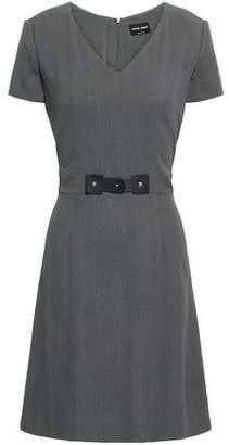 Giorgio Armani Faux Leather-trimmed Stretch-crepe Mini Dress