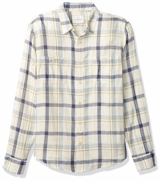 Lucky Brand Men's Long Sleeve Button Up Double Weave Mason Workwear Shirt