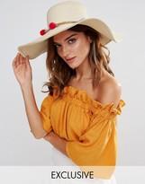 South Beach Straw Floppy Hat with Pom Pom Trim