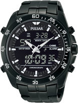 Pulsar Mens Analog/Digital Black Stainless Steel Chronograph Watch PW6011