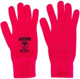 Moschino logo embroidered gloves - women - Wool - One Size