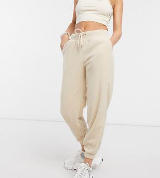 ASOS DESIGN Petite basic sweatpants with tie in cream fleece