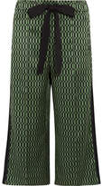 Fendi Printed Silk-satin Wide-leg Pants - Green