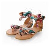 Jenssa Women's Summer Bohemian Flower Thong Flat Sandals