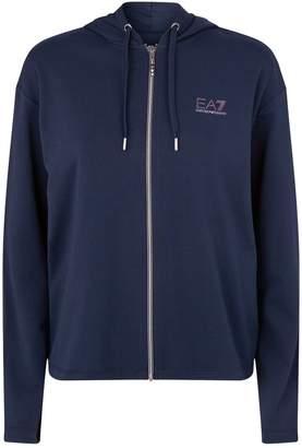 Giorgio Armani Ea7 Embellished Logo Zip-Up Hoodie