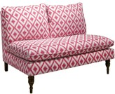 The Well Appointed House Armless Love Seat in Ikat Fret Raspberry