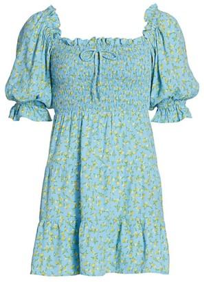 Faithfull The Brand Charlotte Balloon-Sleeve Floral Mini Dress