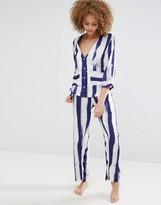 Asos Brushed Stripe Shirt & Long Leg Pajama Set
